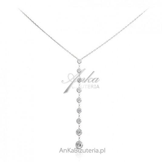 Srebrny naszyjnik z cyrkoniami Biżuteria ślubna