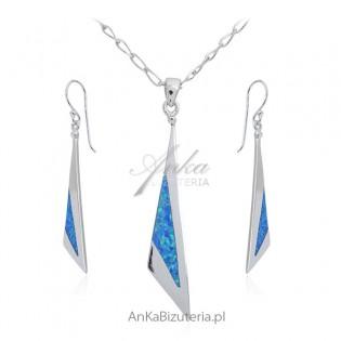 Biżuteria srebrna komplet z niebieskim opalem ELEGANCKA BIŻUTERIA