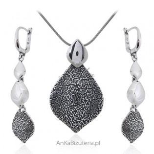 Srebrna biżuteria oksydowana Kobiecy komplet biżuteria srebrna