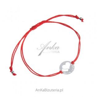WITH LOVE Bransoletka srebrna na czerwonym sznurku