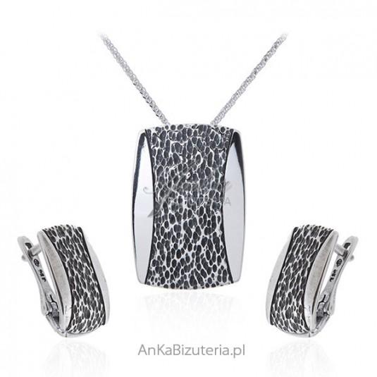 Srebrny komplet biżuteria srebrna oksydowana