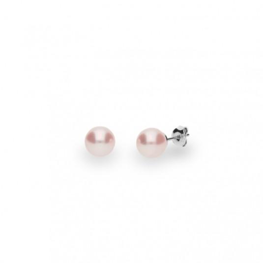 Kolczyki srebrne CLASSIC Pearl w kolorze Rose