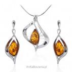 Komplet biżuterii srebrnej z koniakowym bursztynem - oryginalny