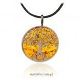 Zawieszka srebrna z bursztynem DRZEWKO SZCZĘŚCIA - mini drzewko