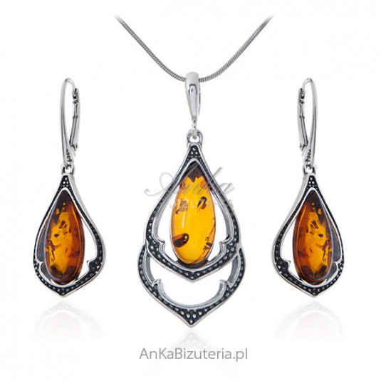 Biżuteria srebrna komplet z bursztynem oksydowany