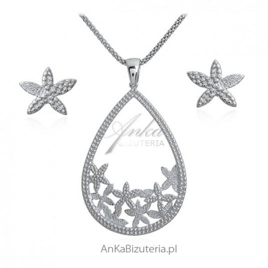 Srebrny satynowany komplet biżuteria srebrna *ŚNIEŻYNKI*