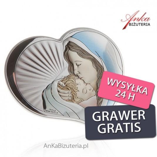 Srebrny obrazek Madonna z dzieciątkiem w sercu 10,5 cm * 9 cm