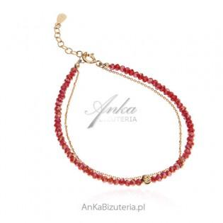 Bransoletka srebrna z czerwonymi koralikami