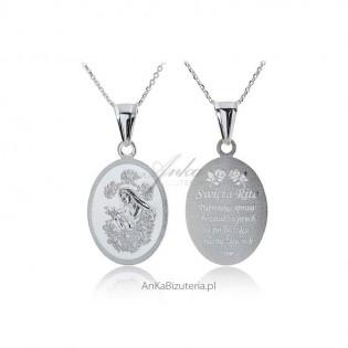 ŚW RITA Medalik srebrny rodowany