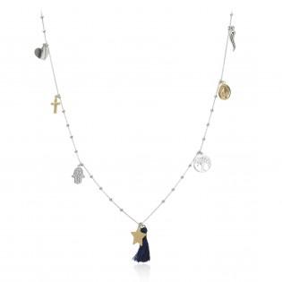 Modna biżuteria srebrna Naszyjnik z frędzlem i przywieszkami