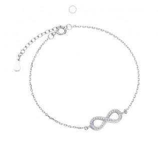 Bransoletka srebrna NIESKOŃCZONOŚĆ rodowana z cyrkoniami