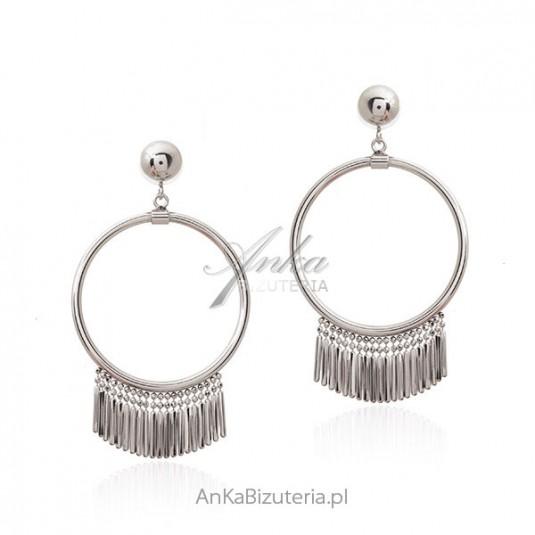 c5f23da175 Ciekawe kolczyki z frędzelkami Srebrne kolczyki kola Biżuteria allegro