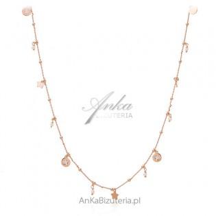 Długi naszyjnik srebrny pozłacany różowym złotem z gwiazdkami i perełkami