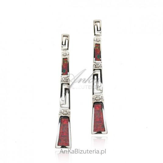 Srebrne kolczyki z czerwonym opalem - długie