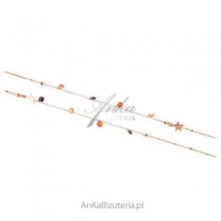 Srebrny naszyjnik pokryty różowym złotem z kryształami Swarovski