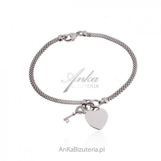 Srebrna bransoletka z serduszkiem i kluczykiem