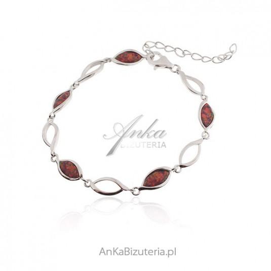 BIŻUTERIA - Srebrna bransoletka z czerwonym opalem