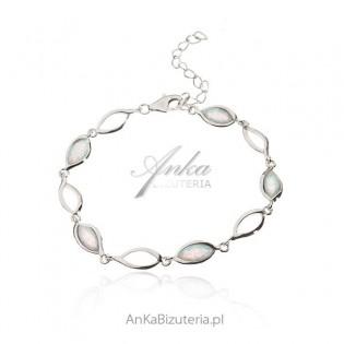 Biżuteria srebrna - Bransoletka srebrna z białym opalem