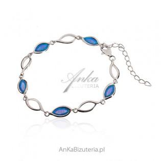 Bransoletka srebrna z niebieskim opalem