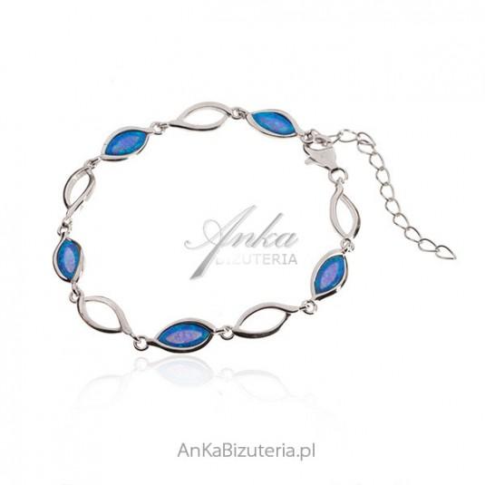6fe95b79bfd302 Bransoletka srebrna damska Opal biżuteria niebieska bransoletki 2015