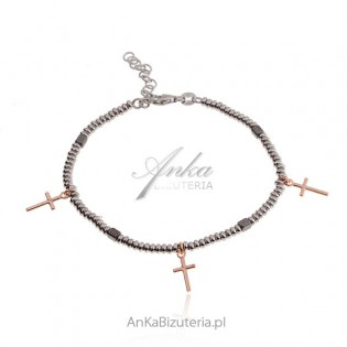 Bransoletka srebrna z krzyżykami - Modna biżuteria srebrna