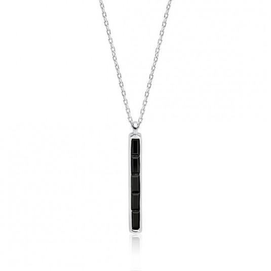 Srebrny naszyjnik prostokąt z czarnymi cyrkoniami