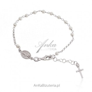 Srebrna bransoletka RÓŻANIEC z białymi perełkami
