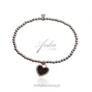 Bransoletka srebrna z czarnym serduszkiem pozłacana różowym złotem