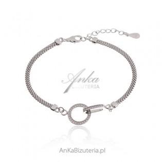 Piękna bransoletka srebrna z mikro cyrkoniami Biżuteria włoska