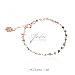 Srebrna bransoletka RÓŻANIEC pozłacana różowym złotem z szarymi hematytami