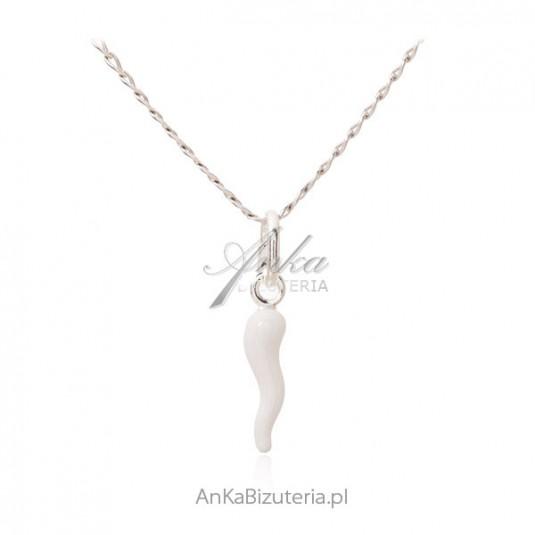 Naszyjnik srebrny GOOD LUCK - biały