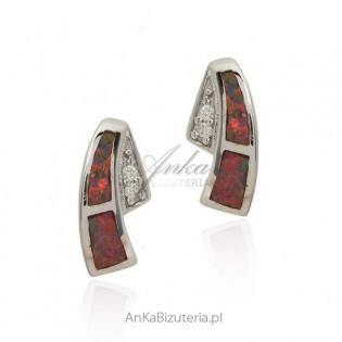 Kolczyki srebrne z czerwonym opalem