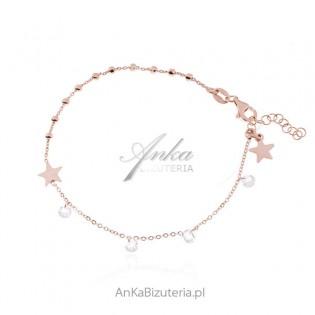 Srebrna bransoletka pozłacana różowym złotem z cyrkoniami GWIAZDKA