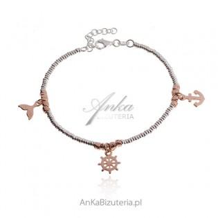 Bransoletka srebrna pozłacana różowym złotem