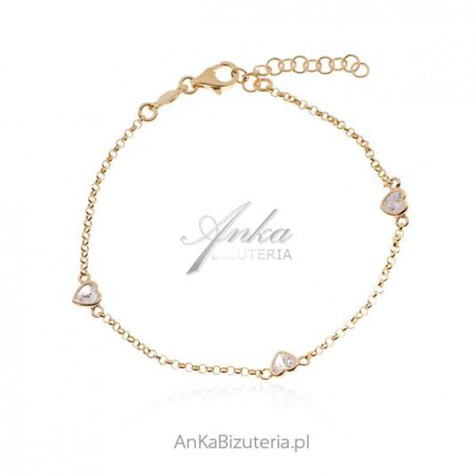 Bransoletka srebrna pozłacana SERDUSZKA z białymi kryształkami Swarovski