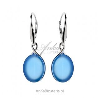 Kolczyki srebrne z niebieskim agatem