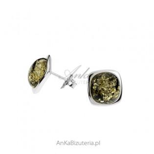 Srebrne kolczyki z zielonym bursztynem