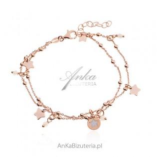 Bransoletka srebrna pozłacana różowym złotem GWIAZDKI