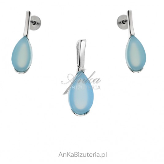 Komplet biżuterii srebrny z niebieskim agatem