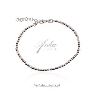 Srebrna bransoletka rodowana diamentowana kuleczki