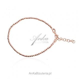 Srebrna bransoletka pozłacana różowym złotem diamentowane kuleczki