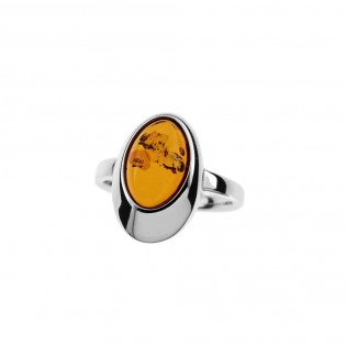Biżuteria srebrna - Pierścionek srebrny z bursztynem
