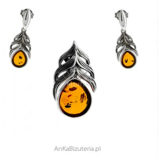 Biżuteria srebrna komplet z bursztynem LISTKI