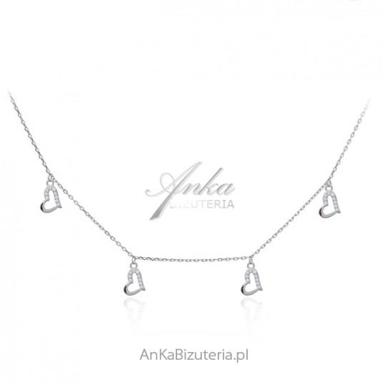 Naszyjnik srebrny serduszka z cyrkoniami