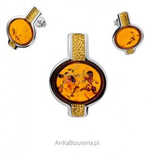 Komplet biżuterii z koniakowym bursztynem pozłacany