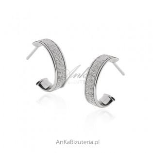 Srebrne kolczyki diamentowane i rodowane - biżuteria włoska