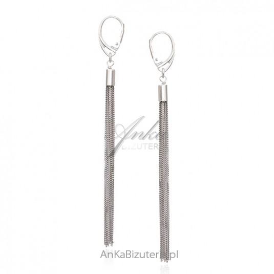 Srebrne kolczyki wiszęce srebrne chwosty