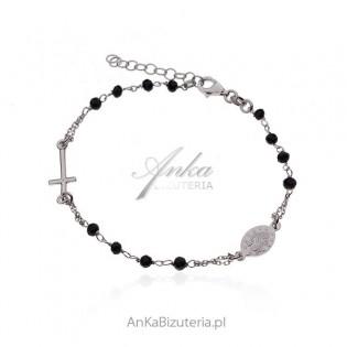 Srebrna bransoletka różaniec z czarnymi cyrkoniami