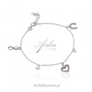 Srebrna bransoletka z białymi cyrkoniami i przywieszkami NA SZCZĘŚCIE