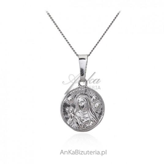 Medalik srebrny Św. RITA - rodowany - ITALY